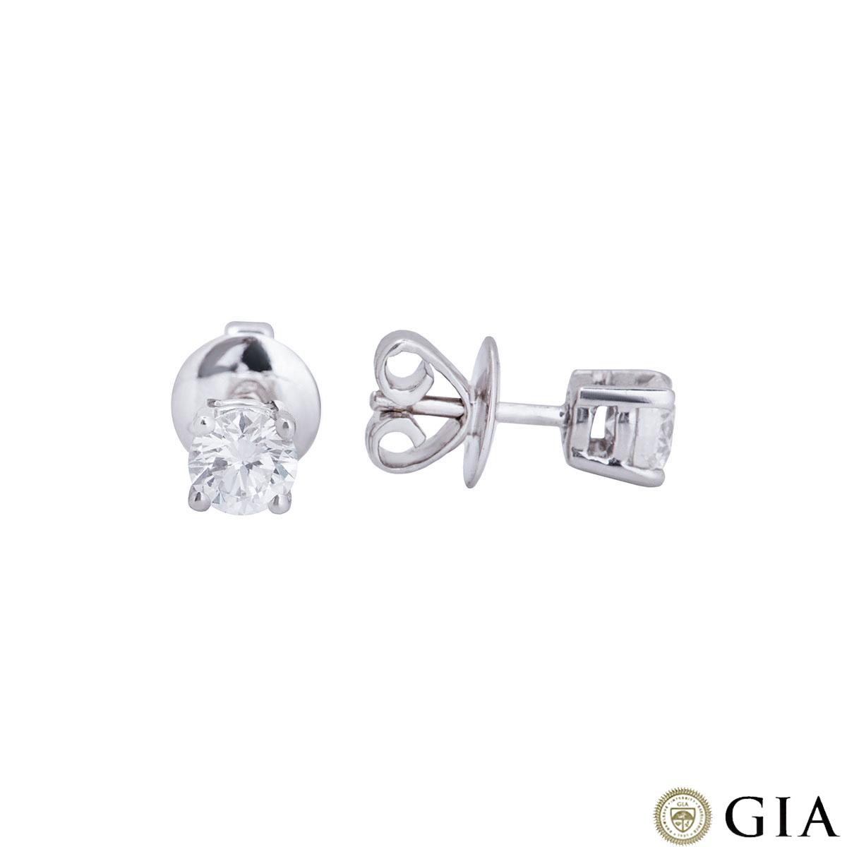 White Gold Diamond Stud Earrings 0.82ct TDW F/VS1
